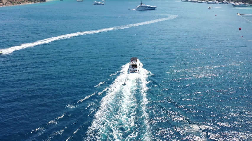 Yacht in the sea aerial video | Shutterstock HD Video #1035446315