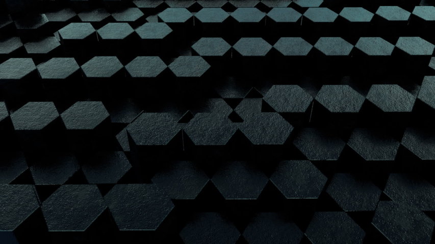 Black Hex 3D Animation Loop 4 is a looping video of textured hexagons rising and falling in a random sequence. Great background for any presentation or production. | Shutterstock HD Video #1035476435