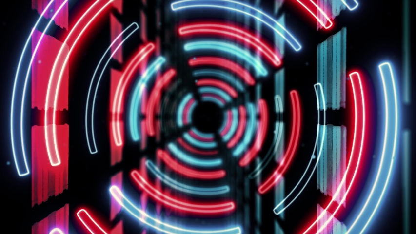 Abstract creative neon, led tunnel with round, circular shapes. Futuristic floor, hall, stage with rotating perspective. | Shutterstock HD Video #1035483605