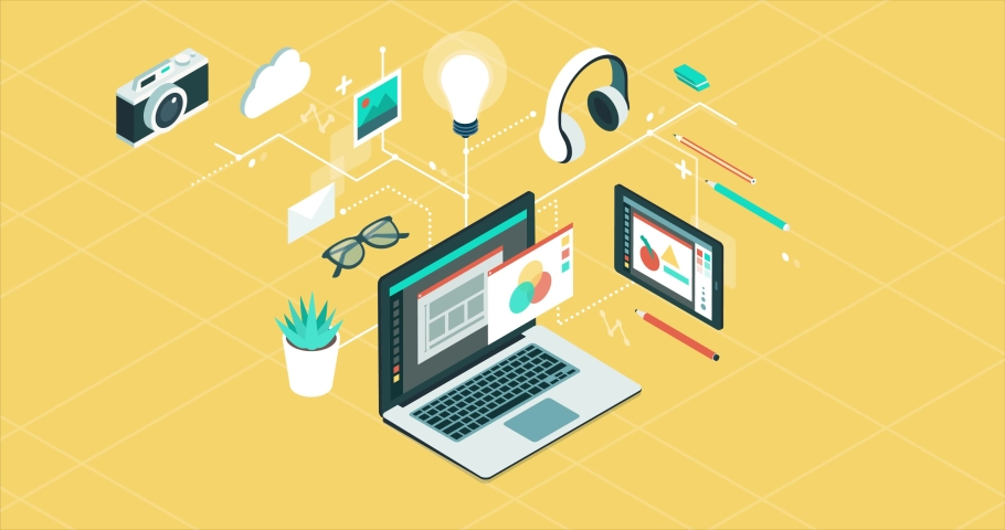 Creativity, graphic design and technology isometric desktop objects and icons connecting together | Shutterstock HD Video #1035536465
