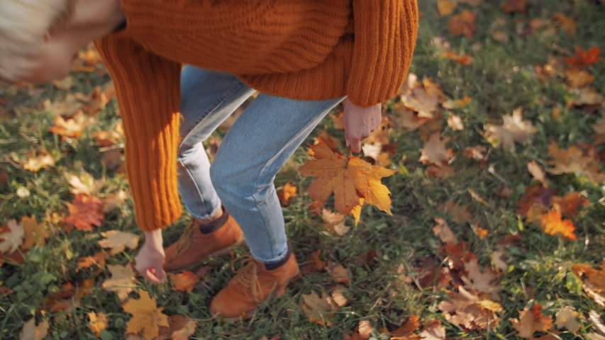 Young hipster girl picks up fallen colorful autumn leaves on the green grass. Model wearing stylish orange sweater, jeans, suede boots | Shutterstock HD Video #1035597095