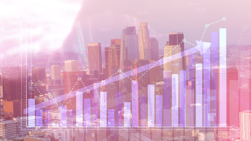 Corporate double exposure of financial graphs rising in front of Los Angeles, California skyline. Illustrating stock trends and financial growth value going up.