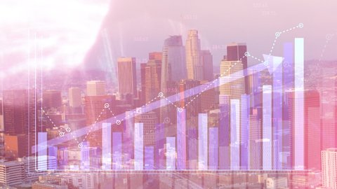Double exposure of financial graphs rising in front of Los Angeles, California skyline. Illustrating stock trends and financial growth value going up.
