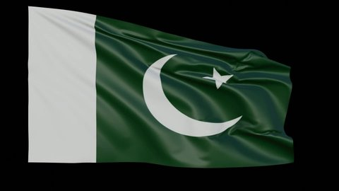 Blank plain Pakistan flag  waving in the wind, surrender flag 3D animation  loop with alpha channel