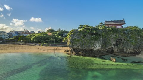 Naha, Japan - September 15 2018: Sunrise landscape of the Naminoue beach close to the Kokusai Street Shopping District of Naha in Okinawa Prefecture, Japan.