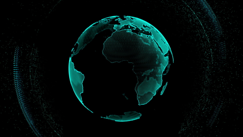 motion globe futuristic style design global fractal light #1035791825