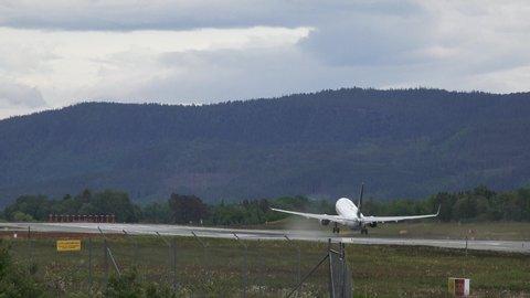 Trondheim, Norway - 06 03 2019: SAS airplanes on Trondheim airport Norway
