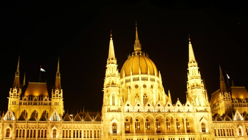 Budapest Hungarian Parliament and night time on the Danube river, Budapest, Hungary, Holidays in Budapest | Shutterstock HD Video #1035909845