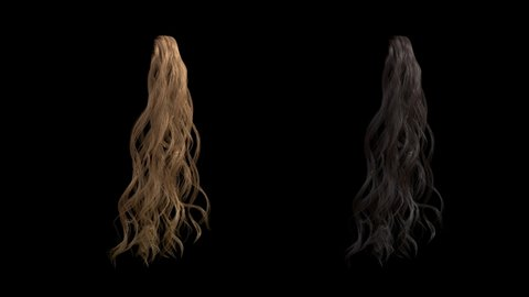 beautiful curly hair tress seamless loop fluttering isolated on black with alpha, two colors brunette and blond