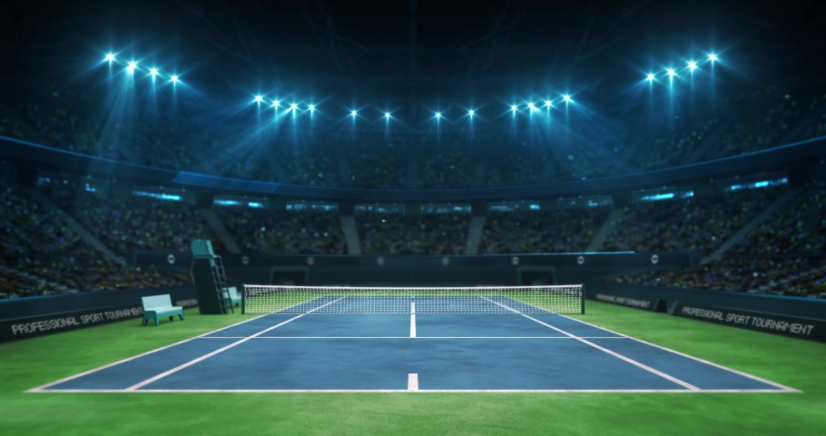 Lighting the tennis blue court before the game in the hall full of spectators, professional tennis sport 4k animation loop background