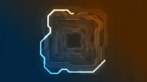 Blue and orange neon geometric lines abstract tech motion graphic design. Futuristic glowing background. Video animation Ultra HD 4K 3840x2160