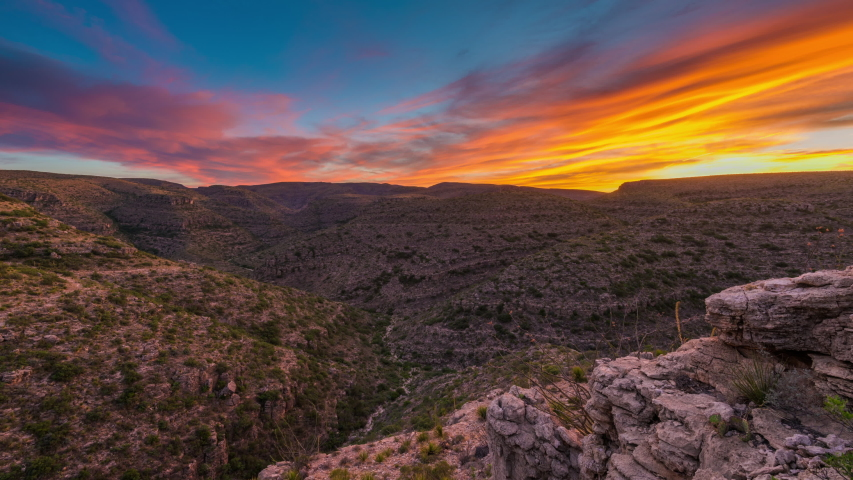 Carlsbad Caverns National Park, New Mexico, USA at Rattlesnake Canyon during sunset. | Shutterstock HD Video #1036056845