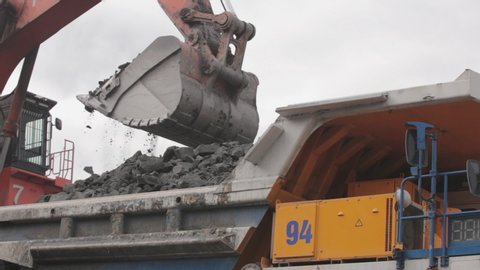 An excavator digs coal and pours it into a large yellow dump truck. Open pit coal mining