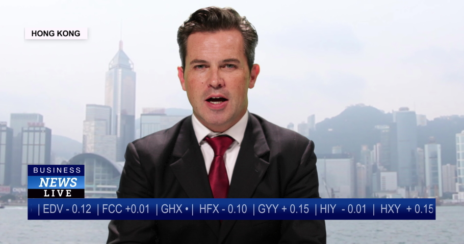 MS Male anchor reporting live from Hong Kong, China with stock market update | Shutterstock HD Video #1036103675