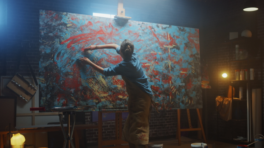 Talented Innovative Female Artist Draws with Her Hands on the Large Canvas, Using Fingers She Creates Colorful, Emotional, Sensual Oil Painting. Contemporary Painter Creating Abstract Art. Zoom in | Shutterstock HD Video #1036107755