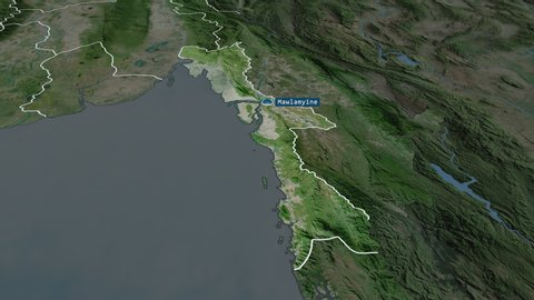 Mon - state of Myanmar with its capital zoomed on the satellite map of the globe