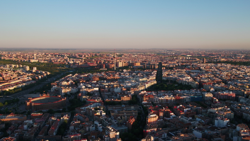 Aerial video of downtown Madrid in Spain on a beautiful sunny day. June 2018 | Shutterstock HD Video #1036442735