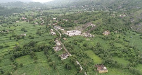 Kashmir valley Aerial view of village