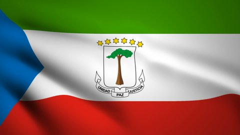Equatorial Guinea flag Motion video waving in wind. Flag Closeup 1080p HD footage.