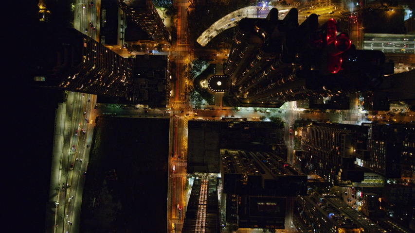 NYC New York Aerial v103 Vertical nighttime cityscape of Murray Hill neighborhood - October 2017 | Shutterstock HD Video #1036604525