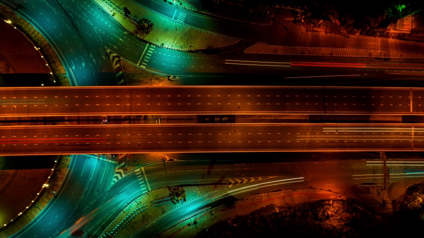 Multilevel junction Expressway top view, Road traffic an important infrastructure. Road and Roundabout #1036665215