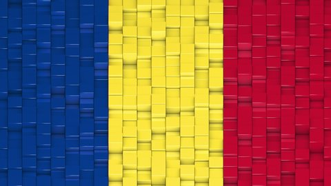 Romanian flag made of cubes moving up and down in a random pattern. 3D animated motion background loop.