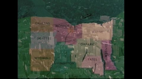 CIRCA 1960s - The Genesee River, Rochester, Letchworth Gorge, Finger Lakes, wine country, grapes and Western New York Apples are shown, in 1963.