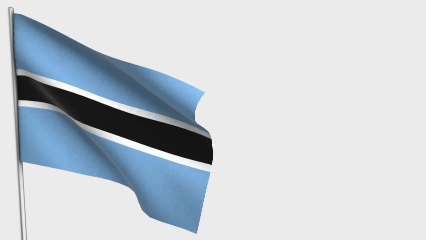 Botswana waving flag animation on Flagpole. Perfect for background with space on the right side. | Shutterstock HD Video #1036914365