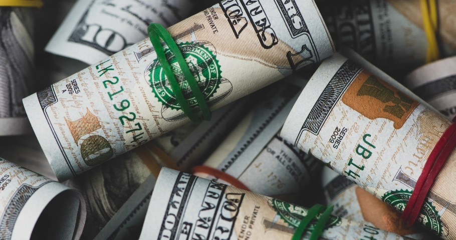 US dollar close up. Macro shot of a 100 dollar. Stop motion animation.  | Shutterstock HD Video #1036933745