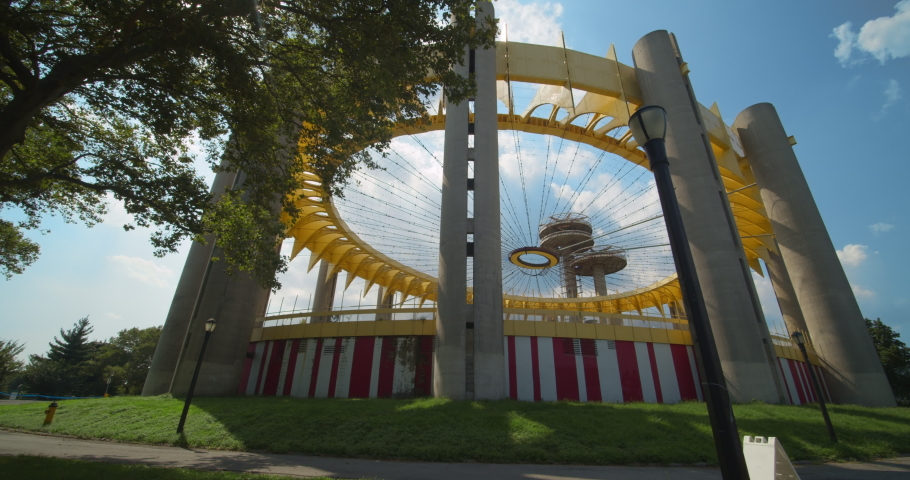 Queens, New York / United States - July 26 2019: The New York Pavilion from the 1964 Worlds fair in Flushing Meadow park.