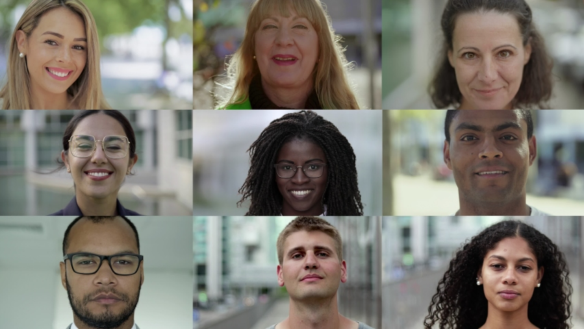 Collage of smiling multiethnic people looking at camera. Portraits of men and women of different race. Ethnicity variation concept | Shutterstock HD Video #1037106905