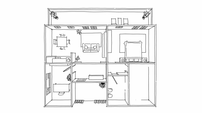 2D interior whiteboard freehand sketch illustration of white furnished home apartment	 | Shutterstock HD Video #1037178275