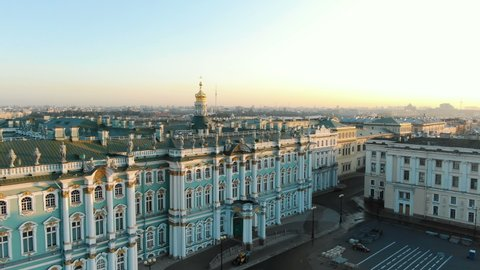 Panorama of the Hermitage in the morning at dawn in the summer. Aerial view of the historic city center.