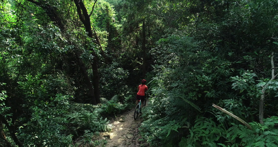 Woman cyclist cross country biking in tropical forest | Shutterstock HD Video #1037189615