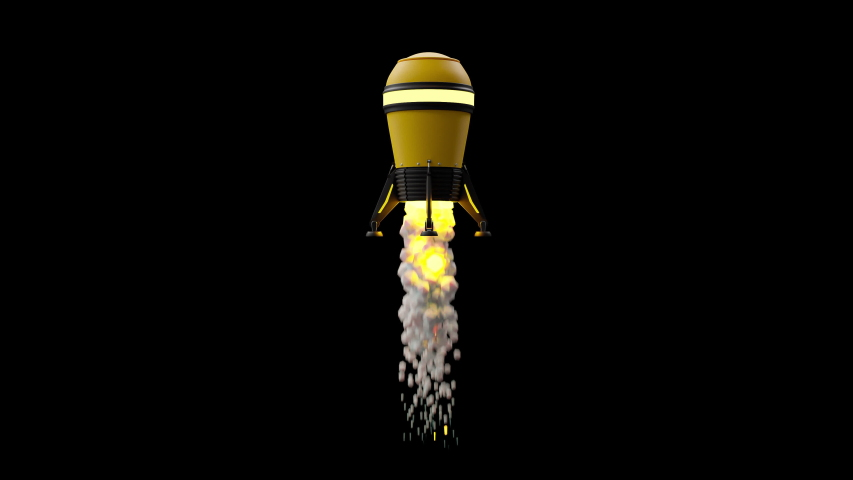 Start up and Success concept. Yellow rocket in black space background. 3D Render. | Shutterstock HD Video #1037227205
