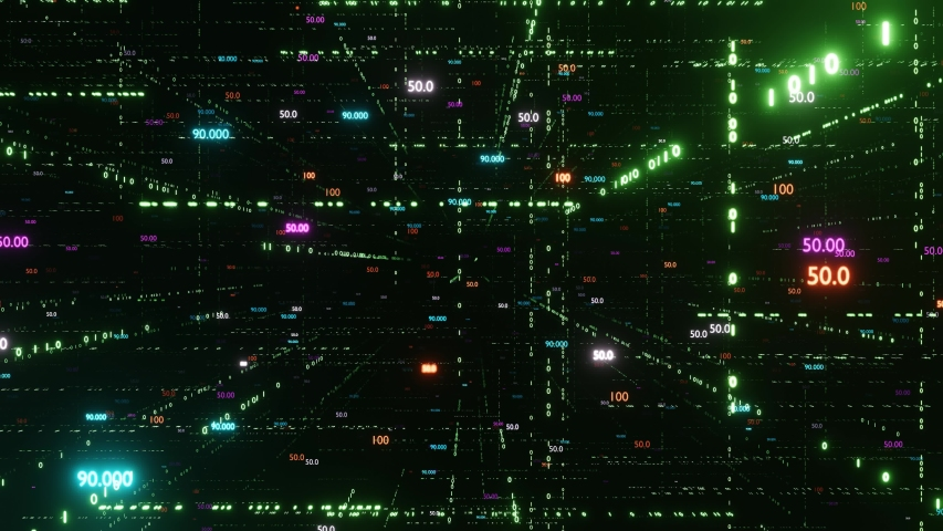 Digital matrix. Big data. The camera flies through digital binary space with different counters. The counters are always facing the camera. Endless loop 4K   Shutterstock HD Video #1037271605