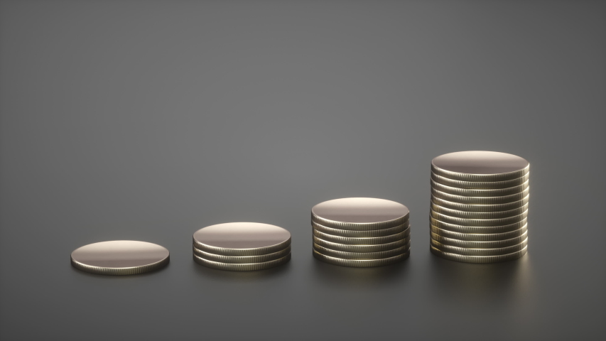 Animated columns of golden coins. Coin stacks on a dark background. Savings, increasing columns of gold coins. 3D Render.   Shutterstock HD Video #1037284055