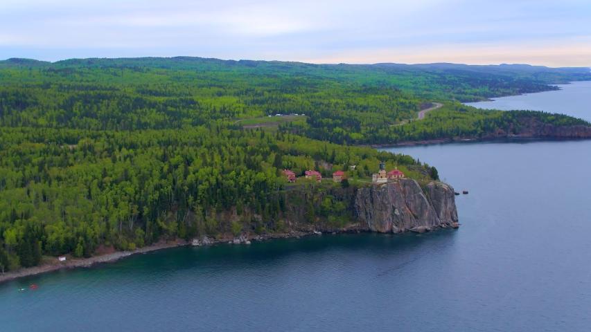 Split Rock Lighthouse Minnesota, Aerial Drone 4K | Shutterstock HD Video #1037304845