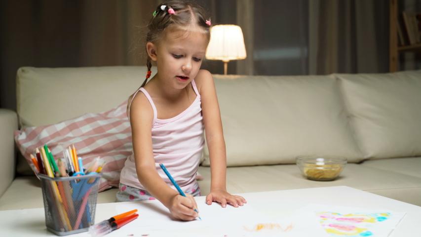 Little Girl Child Home Draws On Paper Kids Drawings   Shutterstock HD Video #1037314535