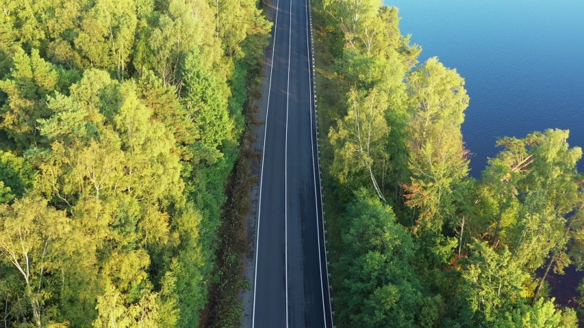 Aerial view from drone on asphalt road with cars at the forest near lake | Shutterstock HD Video #1037327315