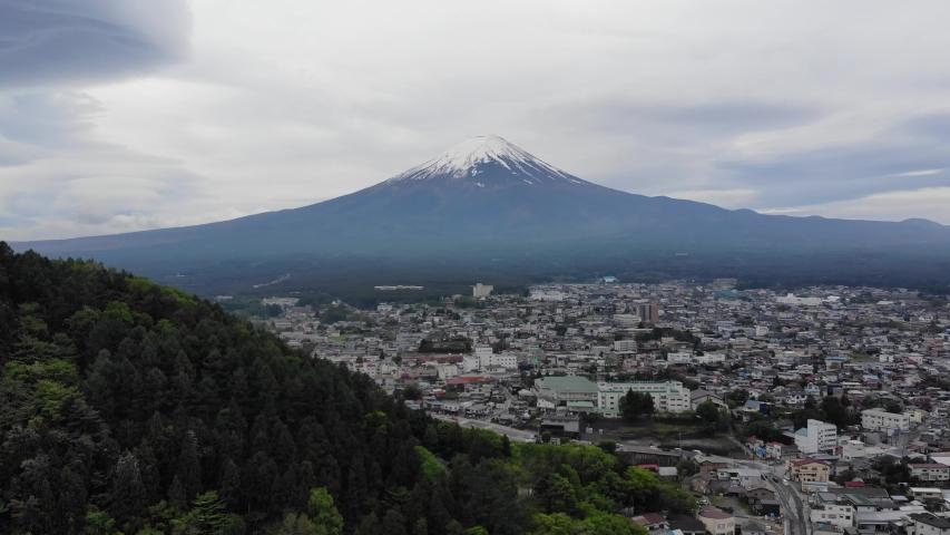 Kawaguchiko Japan Mount Fuji drone view | Shutterstock HD Video #1037333795