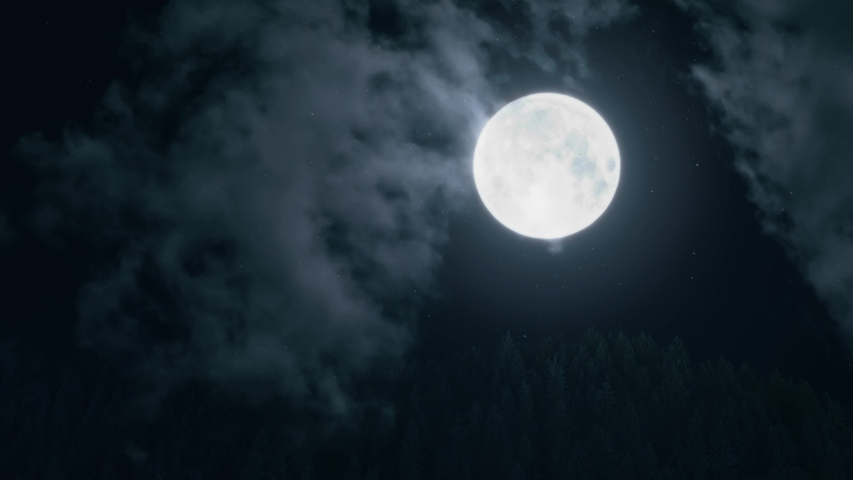 Big Blue Full Moon Rising In The Dark Sky. Halloween. Moon on a dark night with clouds moving over it close-up | Shutterstock HD Video #1037343275