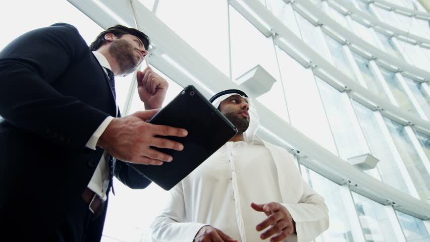 Western Arab international business male travel conference tablet technology   Shutterstock HD Video #10373675