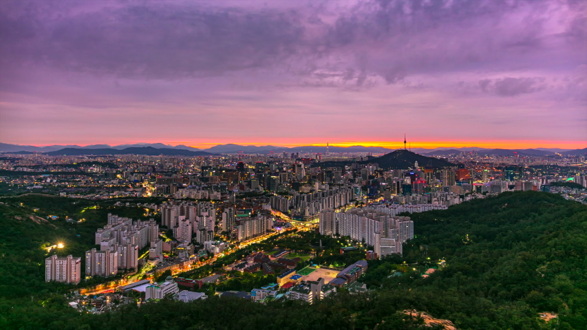 Time Lapse Sunrise of Seoul City Skyline and Seoul TowerSouth Korea | Shutterstock HD Video #1037463455