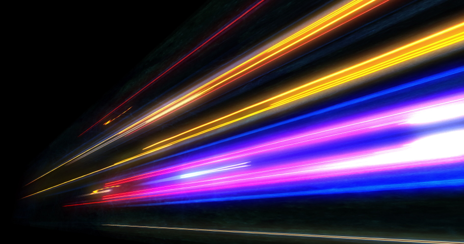 Super fast car night traffic lights. City life, urban scene, car light trails, transport and traffic concept. Long exposure, Travel concept, Science hyperspeed teleport movement, warp speed.