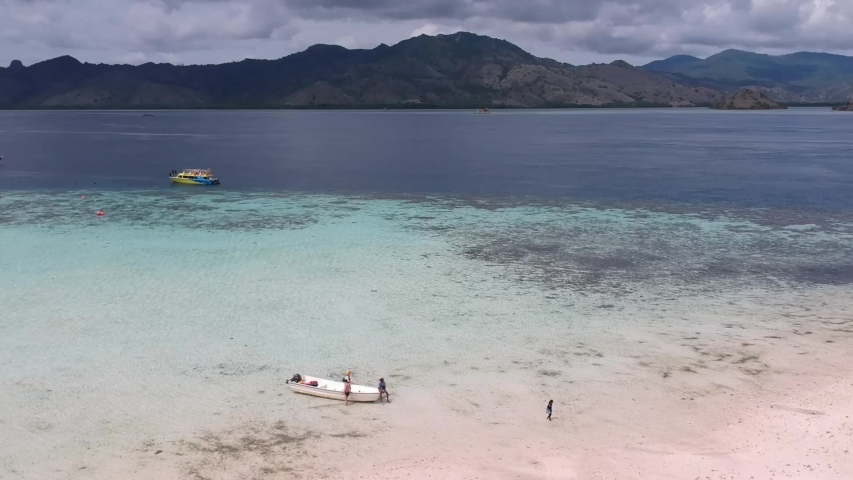 4K aerial view. Tourists who are on vacation at the pink sandy beach Komodo national park, Indonesia   Shutterstock HD Video #1037608745