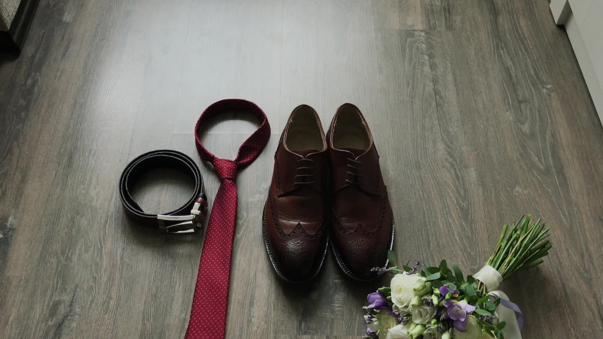 Beautiful men wedding accessories. Shoes, rings, bouquet, belt and tie. | Shutterstock HD Video #1037609765