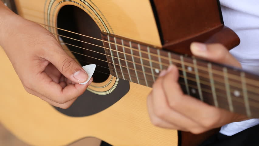 Male Hand Playing Guitar Stock Footage Video 14212910 ...