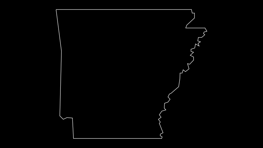 Arkansas USA federal state map outline animation | Shutterstock HD Video #1037791595