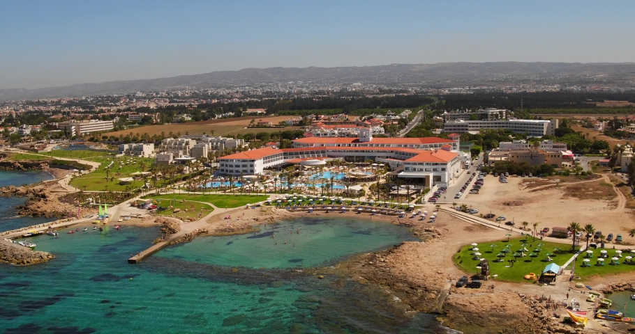 Aerial shots of resorts and beaches of Paphos, Cyprus. | Shutterstock HD Video #1037873525